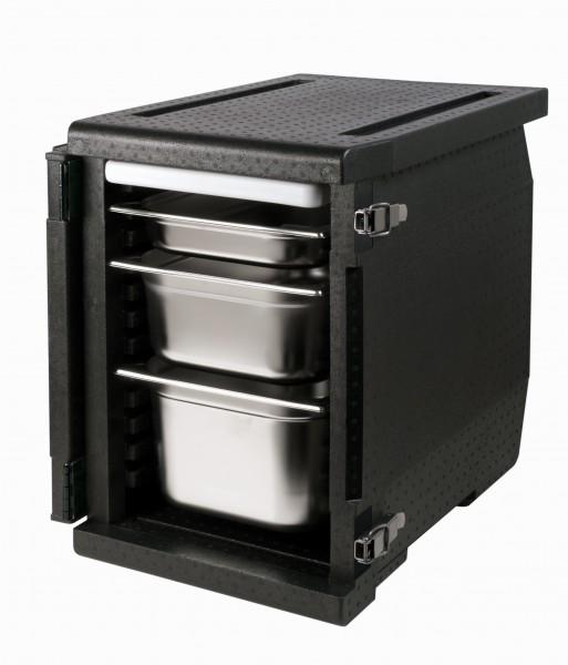 Frontlader im Anwendungsbeispiel mit GN-Behältern und Kühlakku