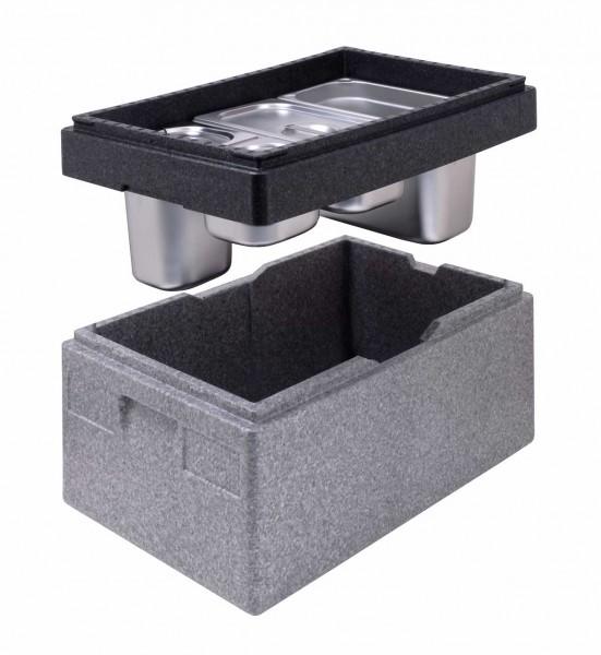 Artikel 10073 Aufsatzrahmen im Anwendungsbeispiel mit GN-Behältern und Thermobox