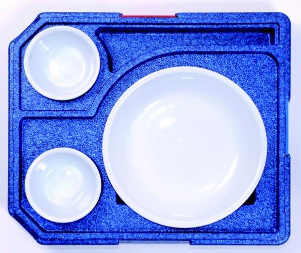 Abbildung zeigt u. a. Porzellanteller rund ohne Einteilung, Thermobox ist im Lieferumfang nicht enthalten